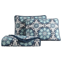 MHF Home Sampson Blue Medallion Quilt Set, Twin