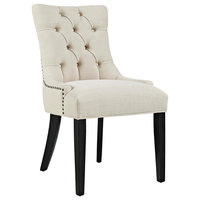 Button-Tufted Fabric Dining Chair, Beige