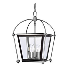 "Hollis, 12"" Pendant, Polished Nickel Finish, Clear Glass Shade"