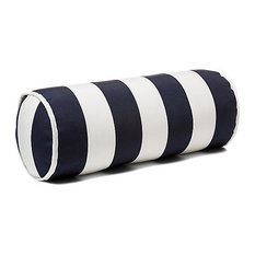 Outdoor Bolster Pillow With Piping, Navy