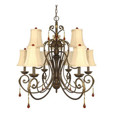 Dune Gold 9-Light Chandelier With Shades