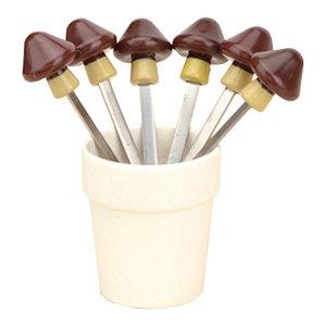 Mushroom Modeling Decorative Stainless Steel Fruit Fork Set Of 6
