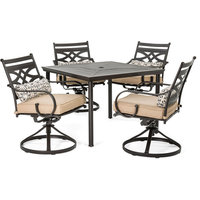 Montclair 5-Piece Patio Dining Set With Rockers and Square Table, Tan