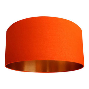 Fabric Lampshade, Tangerine and Brushed Copper, 50x30 cm