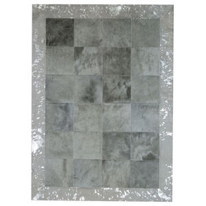Patchwork Cubed Cowhide Rug, Light Grey With Acid Silver Border, 140x200 cm