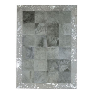 Patchwork Cubed Cowhide Rug, Light Grey With Acid Silver Border, 200x300 cm