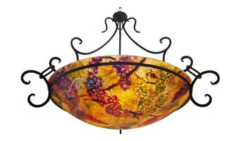 """32"""" Vineyard Romance, commissioned Reverse Hand Painted Glass Chandelier"""