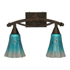 Bow 2-Light Bath Bar Bronze Teal Crystal Glass