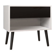 Atlin Designs 1 Drawer Nightstand In White And Black Matte