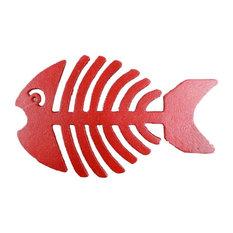 "Cast Iron Fish Bone Trivet, Rustic Red, 11"""