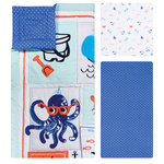 Trend Lab - Ocean Pals 3 Piece Crib Bedding Set - Your little sailor will drift off to sleep with the adorable Ocean Pals collection by Trend Lab. Let your baby explore the wonders of the seven seas with textured appliques including a whale, octopus, starfish, crabs and fish who are accented amid other sweet seaside icons.  A playful mini-dot sailboat print and a soft tonal stripe print complement the collection in a seaside color palette of turquoise, royal blue, sea mist, and light gray accented with pops of navy blue and salmon. Please adhere to JPMA�s Safe Infant Bedding Practices.