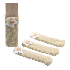 Chairs Socks Table Chair Leg Pad Furniture Socks , Flower, Beige, Set Of 24
