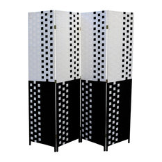 "Black/White Paper Straw Weave 4-Panel Screen on 2""H Legs, Handcrafted"