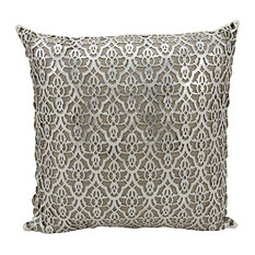 "Mina Victory Couture Hide Moorish Leaves Pillow, Silver/White, 18""x18"""