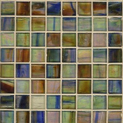 Iridescent Brown Eyes Blue Glass Mosaic - Tile