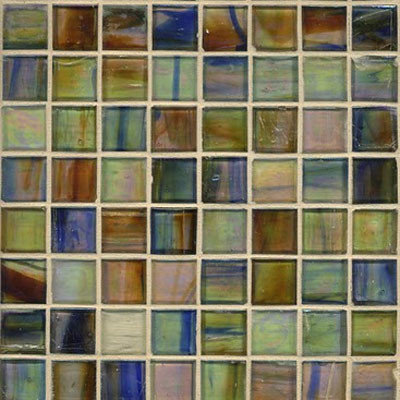 Iridescent Brown Eyes Blue Glass Mosaic - Tile