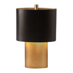 """Modern Gold Bronze Table Lamp 17"""" Oval Mid Century Metal"""