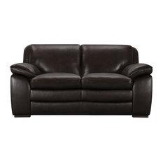 Zanna Contemporary Loveseat Genuine Dark Brown Leather With Brown Wood Legs