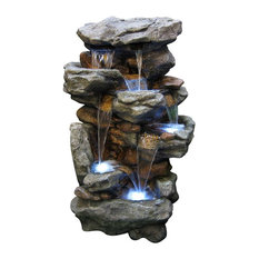 Superbe Alpine Corporation   Rainforest Waterfall Fountain With LED Lights   Outdoor  Fountains And Ponds