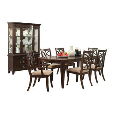 8-PieceKeiber Dining Set Table 2 Arm 4 Chair Buffet And Hutch Brown Cherry