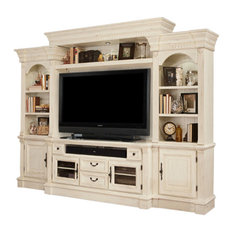 Parker House - Fremont Antique, Style Burnished White Entertainment Wall, 4-Piece Set - Entertainment Centers and Tv Stands
