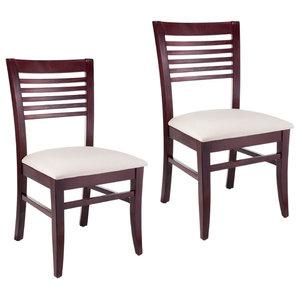 Venetion Solid Wood Chair Dark Mahogany Set Of 2