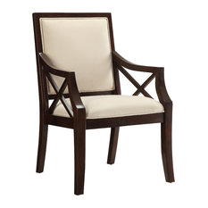 Accent Chair Brown Cherry Beige Microsuede