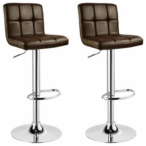 Consigned Set of 2 Bar Stools in Faux Leather with Adjustable Swivel Gas Lift, B