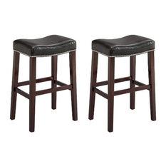 Crown Mark Nadia Saddle Chairs Black Set Of 2