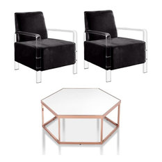 Furniture Of America Valor 3-Piece Rose Gold Coffee Table Set