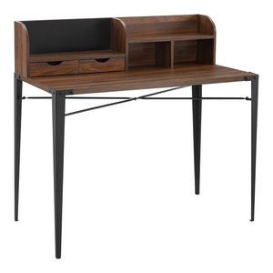 Pemberly Row Small Glass Top Computer Desk in Silver