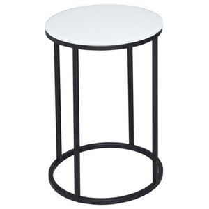 Kensal White Round Side Table, Black Base