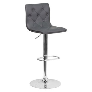 Contemporary Gray Vinyl Adjustable Height Bar Stool With
