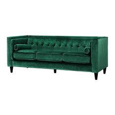 Meridian Furniture - Taylor Velvet Sofa, Green - Sofas
