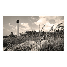 Biscayne Bay Lighthouse Miami Florida Fine Art Black and White Photography , 16x