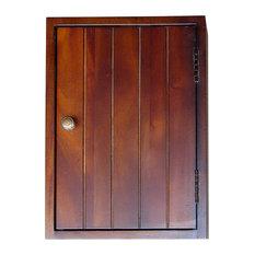 """14"""" Tall Wooden Key Holder Cabinet, Mahogany"""
