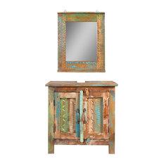 VidaXL Solid Wood Bathroom Vanity Cabinet Set Mirror 2 Doors Vintage Style