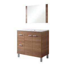 Aktivia Bathroom Vanity Unit, 80 cm, Walnut