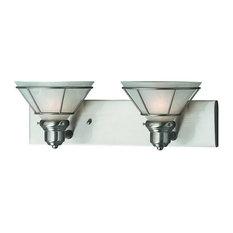 Craftsman 2 Light Bathroom Vanity Light in Satin Nickel