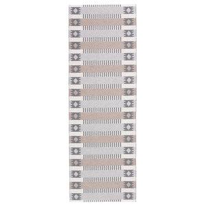 Marta Woven Vinyl Floor Cloth, Grey and Beige, 70x200 cm