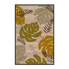 Sai Resources Llc Leaf Handwoven Bamboo Rug Green Gray And Brown