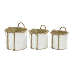"""Set of 3 White Sea Grass Coastal Storage Basket, 17"""", 15"""", 13"""""""
