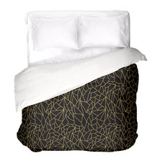 Black Gold Abstract Duvet Cover, King