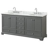 "Deborah 72"" Double Vanity, Dark Gray, White Carrera Marble Top, Oval Sinks"