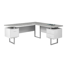 Modern L-Shaped Desk, Silver U-Shaped Legs and Storage Drawers, White/Cement