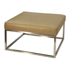 Genuine Camel Leather Ottoman with Brushed Steel Metal Base