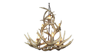 Real Shed Antler Mule Deer 9 Light Chandelier, No Shades