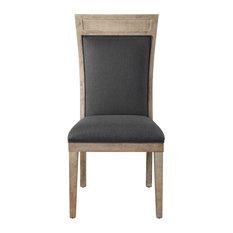 Rustic Exposed Light Wood Dining Side Chair, Dark Gray Black High Back Retro
