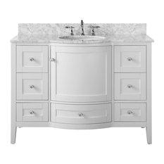 "Lauren 48"" Vanity Set, White With Italian Cararra Marble Top, Silver Hardware"