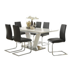 HEFX Furniture   7 Piece Yanson Ultra Modern Dining Set Table, 6 Chair,